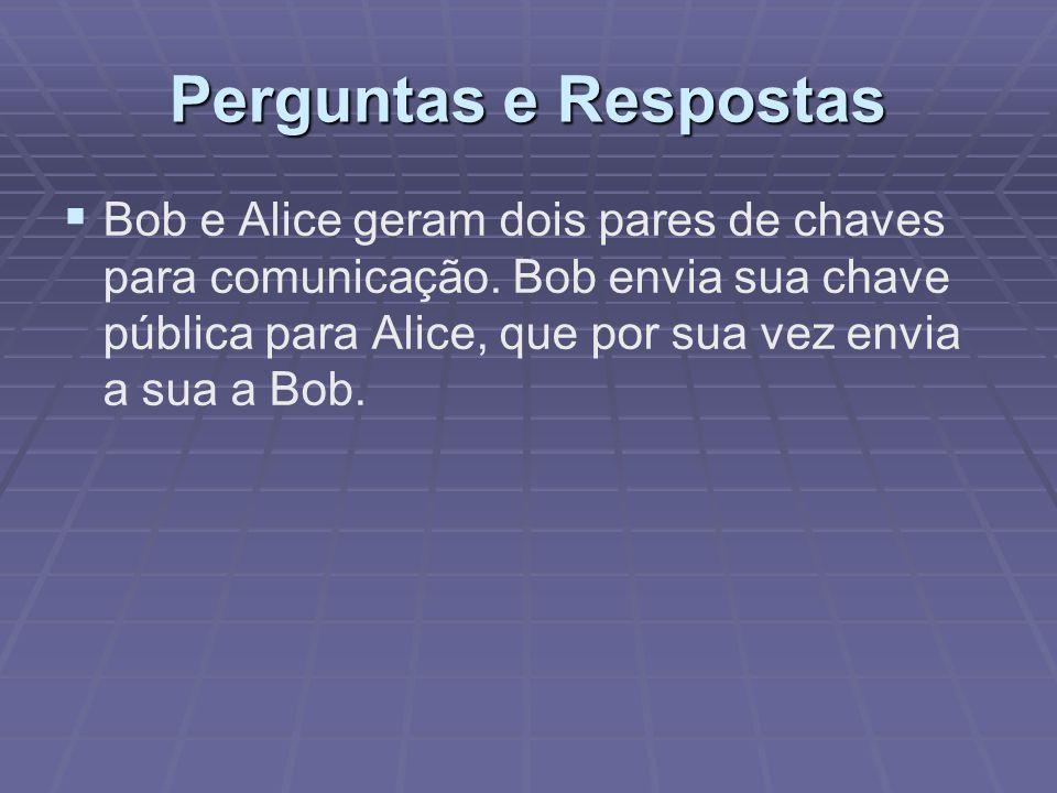 Perguntas e Respostas   Bob e Alice geram dois pares de chaves para comunicação. Bob envia sua chave pública para Alice, que por sua vez envia a sua