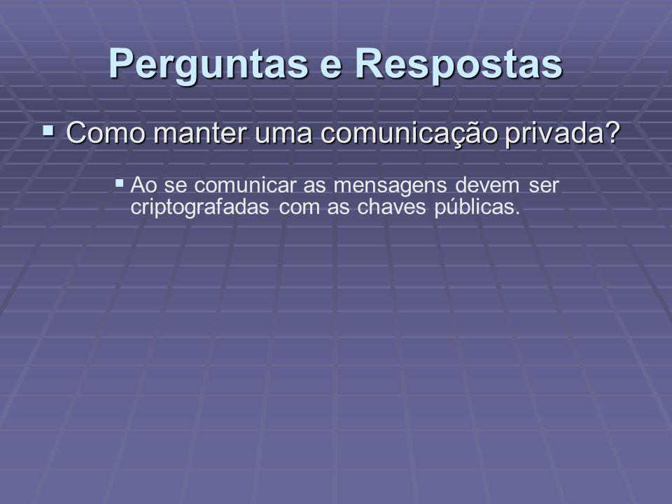 Perguntas e Respostas  Como manter uma comunicação privada?  Ao se comunicar as mensagens devem ser criptografadas com as chaves públicas.