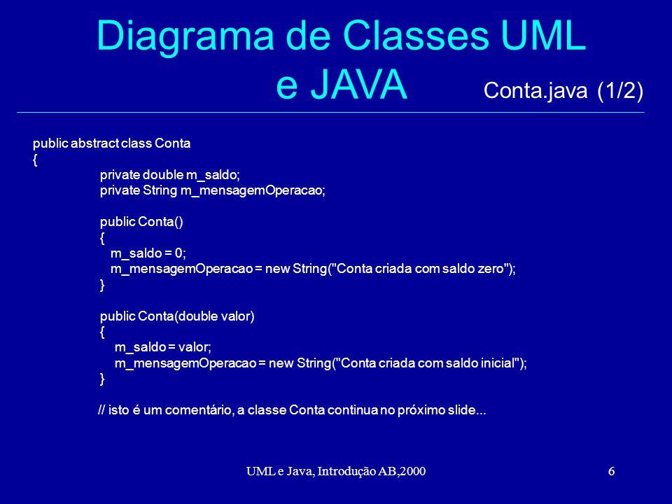 UML e Java, Introdução AB,20006 Diagrama de Classes UML e JAVA public abstract class Conta { private double m_saldo; private String m_mensagemOperacao; public Conta() { m_saldo = 0; m_mensagemOperacao = new String( Conta criada com saldo zero ); } public Conta(double valor) { m_saldo = valor; m_mensagemOperacao = new String( Conta criada com saldo inicial ); } // isto é um comentário, a classe Conta continua no próximo slide...