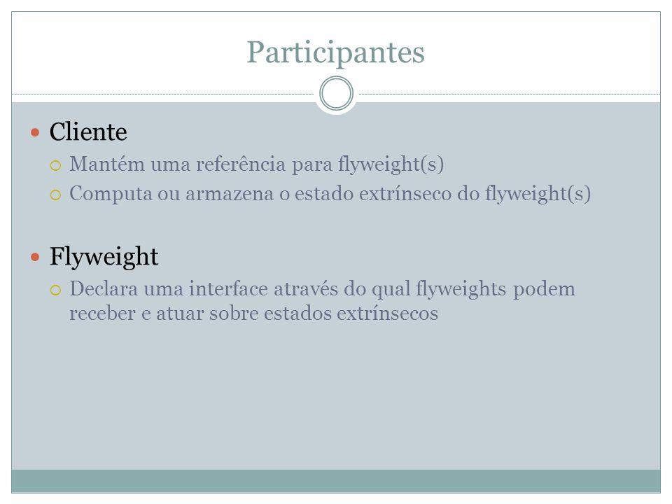 Participantes Cliente  Mantém uma referência para flyweight(s)  Computa ou armazena o estado extrínseco do flyweight(s) Flyweight  Declara uma interface através do qual flyweights podem receber e atuar sobre estados extrínsecos