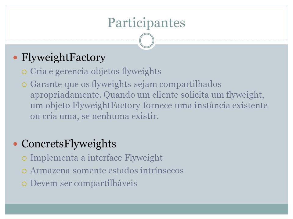 Participantes FlyweightFactory  Cria e gerencia objetos flyweights  Garante que os flyweights sejam compartilhados apropriadamente.