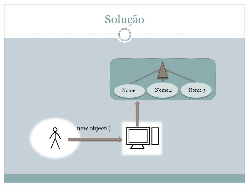Solução new object() Nome 1 Nome 2Nome 3