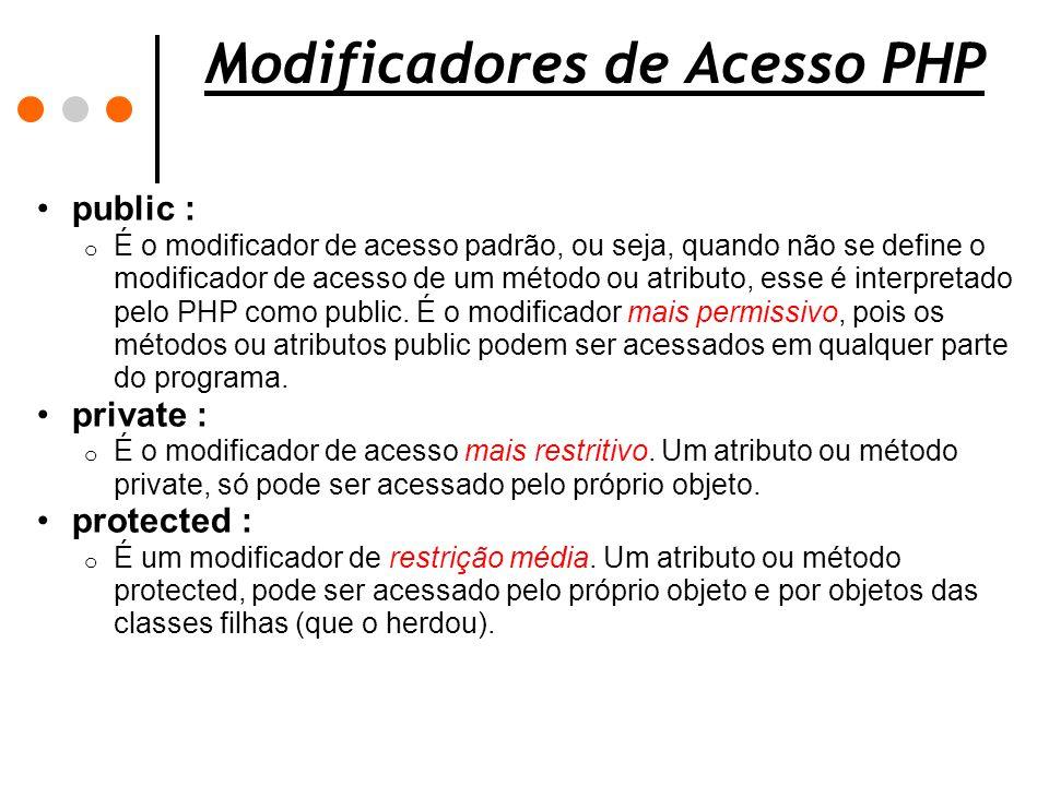 Modificadores de Acesso PHP public : o É o modificador de acesso padrão, ou seja, quando não se define o modificador de acesso de um método ou atribut