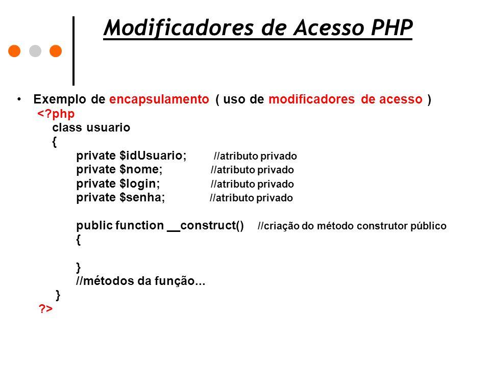 Modificadores de Acesso PHP Exemplo de encapsulamento ( uso de modificadores de acesso ) <?php class usuario { private $idUsuario; //atributo privado