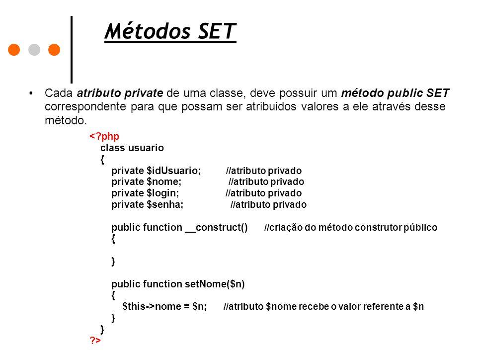 Métodos SET Cada atributo private de uma classe, deve possuir um método public SET correspondente para que possam ser atribuidos valores a ele através