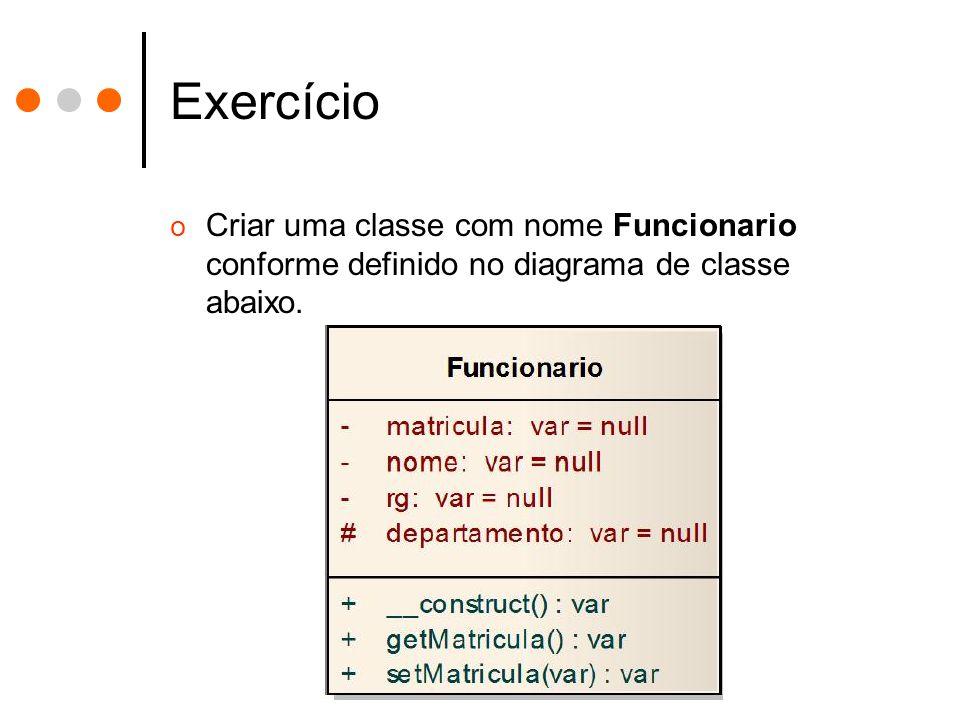 Exercício o Criar uma classe com nome Funcionario conforme definido no diagrama de classe abaixo.