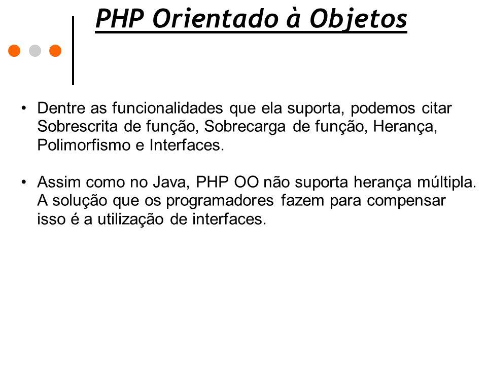 PHP Orientado à Objetos Dentre as funcionalidades que ela suporta, podemos citar Sobrescrita de função, Sobrecarga de função, Herança, Polimorfismo e