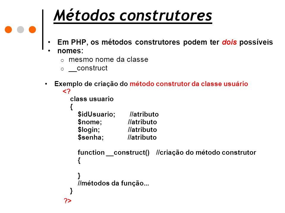 Métodos construtores Em PHP, os métodos construtores podem ter dois possíveis nomes: o mesmo nome da classe o __construct Exemplo de criação do método