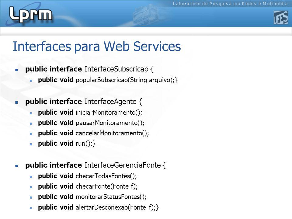 Interfaces para Web Services public interface InterfaceSubscricao { public void popularSubscricao(String arquivo);} public interface InterfaceAgente {