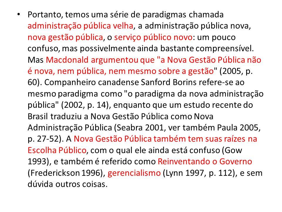 Portanto, temos uma série de paradigmas chamada administração pública velha, a administração pública nova, nova gestão pública, o serviço público novo: um pouco confuso, mas possivelmente ainda bastante compreensível.