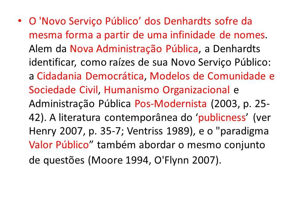 O Novo Serviço Público' dos Denhardts sofre da mesma forma a partir de uma infinidade de nomes.