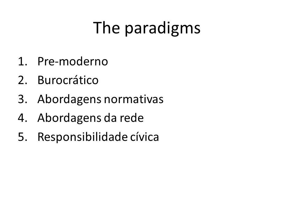 The paradigms 1.Pre-moderno 2.Burocrático 3.Abordagens normativas 4.Abordagens da rede 5.Responsibilidade cívica