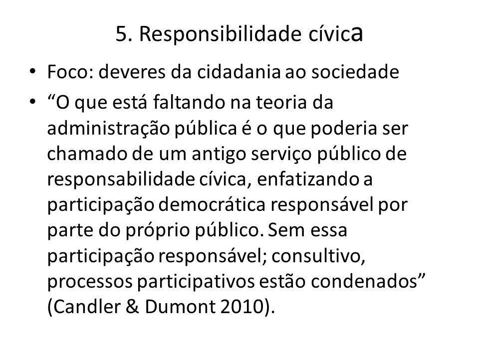 """5. Responsibilidade cívic a Foco: deveres da cidadania ao sociedade """"O que está faltando na teoria da administração pública é o que poderia ser chamad"""