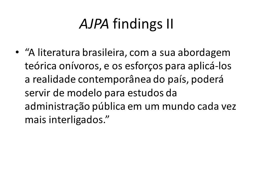 AJPA findings II A literatura brasileira, com a sua abordagem teórica onívoros, e os esforços para aplicá-los a realidade contemporânea do país, poderá servir de modelo para estudos da administração pública em um mundo cada vez mais interligados.