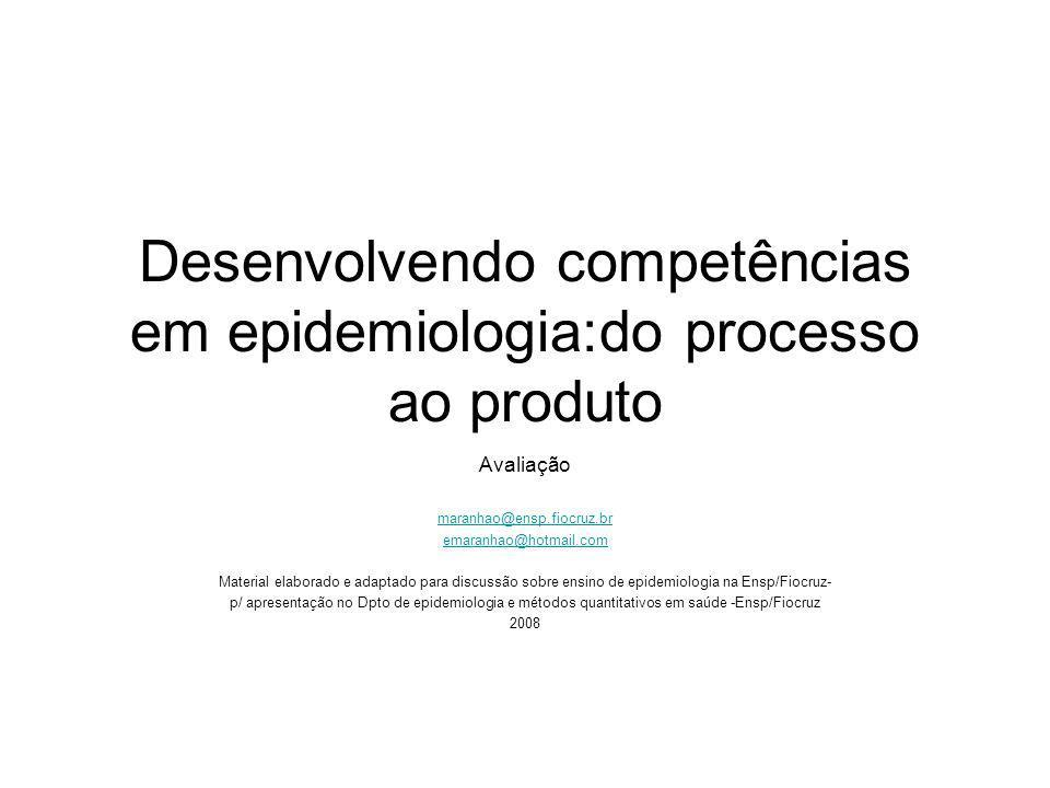 Desenvolvendo competências em epidemiologia:do processo ao produto Avaliação maranhao@ensp.fiocruz.br emaranhao@hotmail.com Material elaborado e adapt