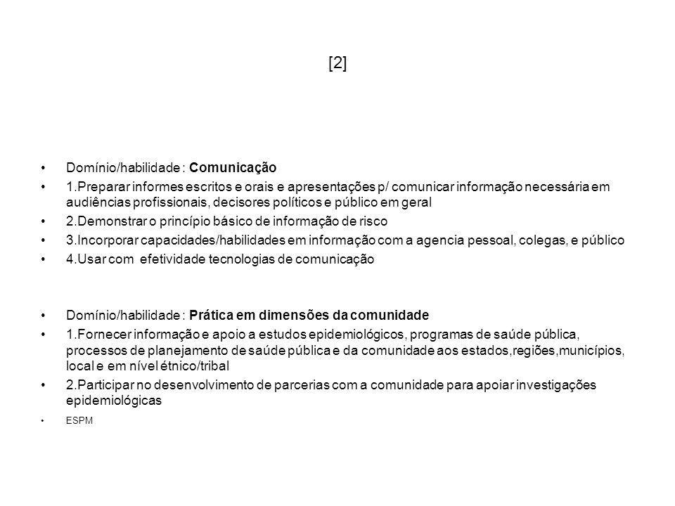 [2] Domínio/habilidade : Comunicação 1.Preparar informes escritos e orais e apresentações p/ comunicar informação necessária em audiências profissiona