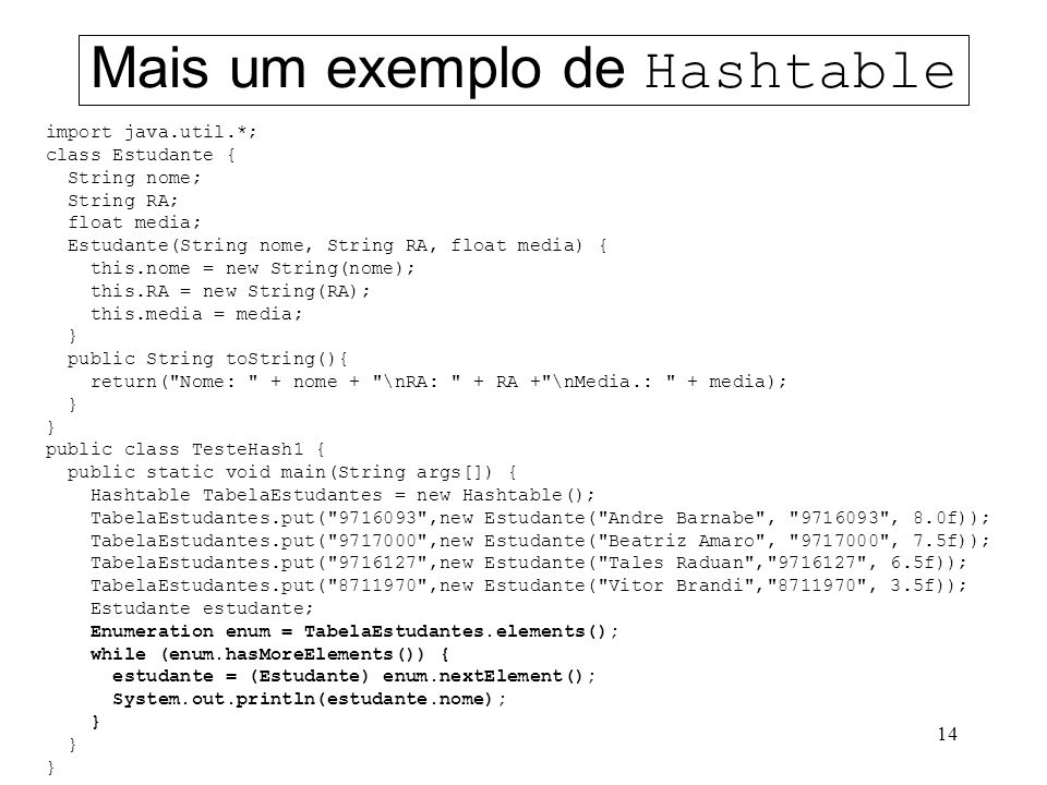 14 Mais um exemplo de Hashtable import java.util.*; class Estudante { String nome; String RA; float media; Estudante(String nome, String RA, float media) { this.nome = new String(nome); this.RA = new String(RA); this.media = media; } public String toString(){ return( Nome: + nome + \nRA: + RA + \nMedia.: + media); } public class TesteHash1 { public static void main(String args[]) { Hashtable TabelaEstudantes = new Hashtable(); TabelaEstudantes.put( 9716093 ,new Estudante( Andre Barnabe , 9716093 , 8.0f)); TabelaEstudantes.put( 9717000 ,new Estudante( Beatriz Amaro , 9717000 , 7.5f)); TabelaEstudantes.put( 9716127 ,new Estudante( Tales Raduan , 9716127 , 6.5f)); TabelaEstudantes.put( 8711970 ,new Estudante( Vitor Brandi , 8711970 , 3.5f)); Estudante estudante; Enumeration enum = TabelaEstudantes.elements(); while (enum.hasMoreElements()) { estudante = (Estudante) enum.nextElement(); System.out.println(estudante.nome); }