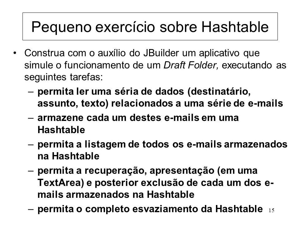 15 Pequeno exercício sobre Hashtable Construa com o auxílio do JBuilder um aplicativo que simule o funcionamento de um Draft Folder, executando as seg