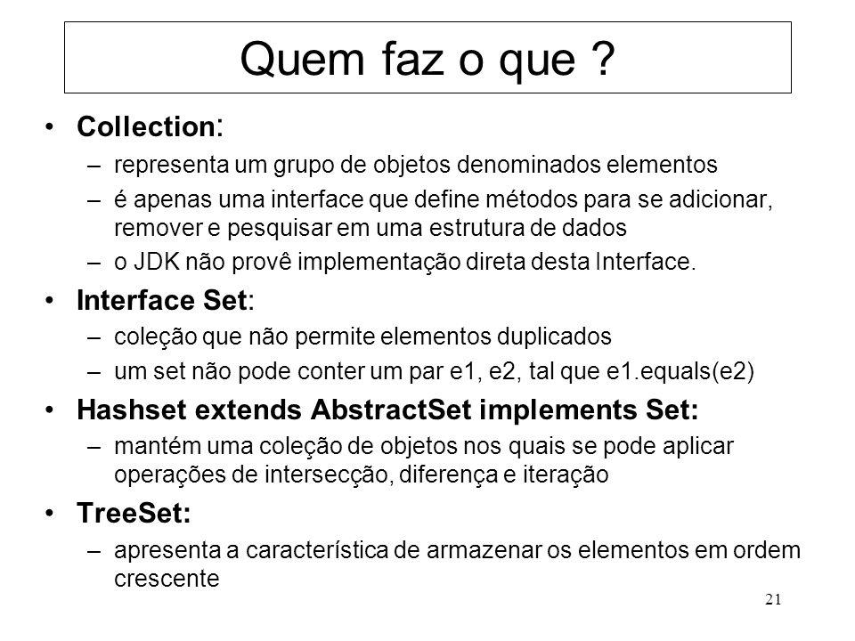 21 Quem faz o que ? Collection : –representa um grupo de objetos denominados elementos –é apenas uma interface que define métodos para se adicionar, r