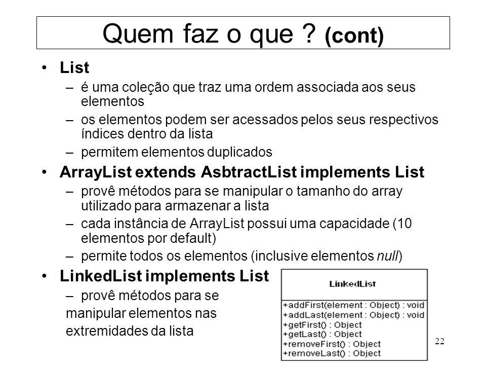 22 Quem faz o que ? (cont) List –é uma coleção que traz uma ordem associada aos seus elementos –os elementos podem ser acessados pelos seus respectivo