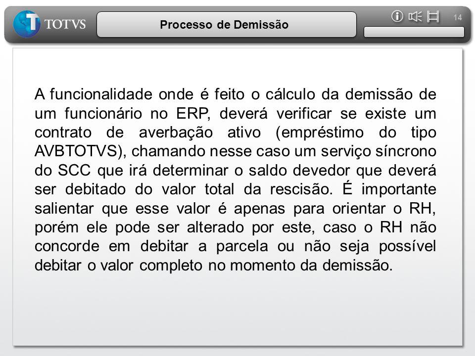 14 Processo de Demissão A funcionalidade onde é feito o cálculo da demissão de um funcionário no ERP, deverá verificar se existe um contrato de averba