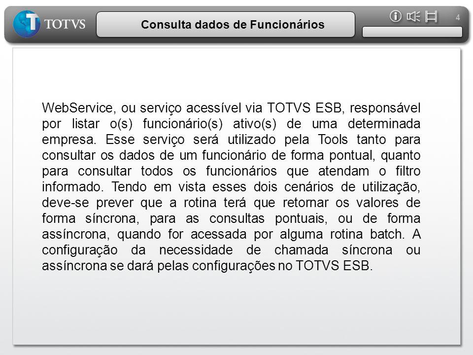 4 Consulta dados de Funcionários WebService, ou serviço acessível via TOTVS ESB, responsável por listar o(s) funcionário(s) ativo(s) de uma determinad
