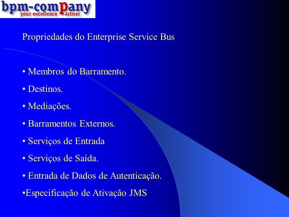 Propriedades do Enterprise Service Bus Membros do Barramento. Destinos. Mediações. Barramentos Externos. Serviços de Entrada Serviços de Saída. Entrad