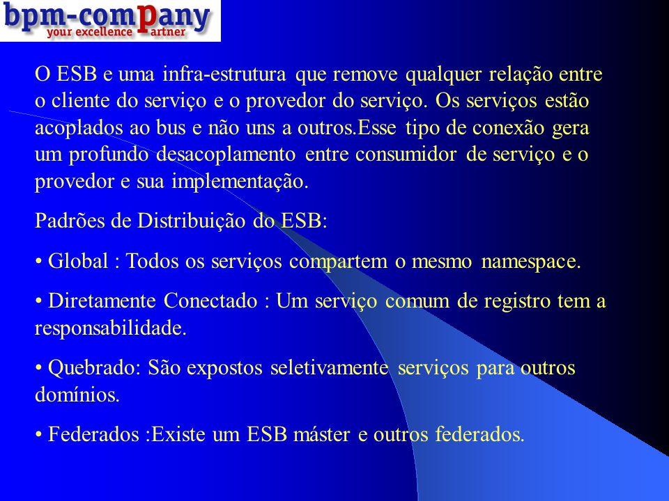 O ESB e uma infra-estrutura que remove qualquer relação entre o cliente do serviço e o provedor do serviço. Os serviços estão acoplados ao bus e não u