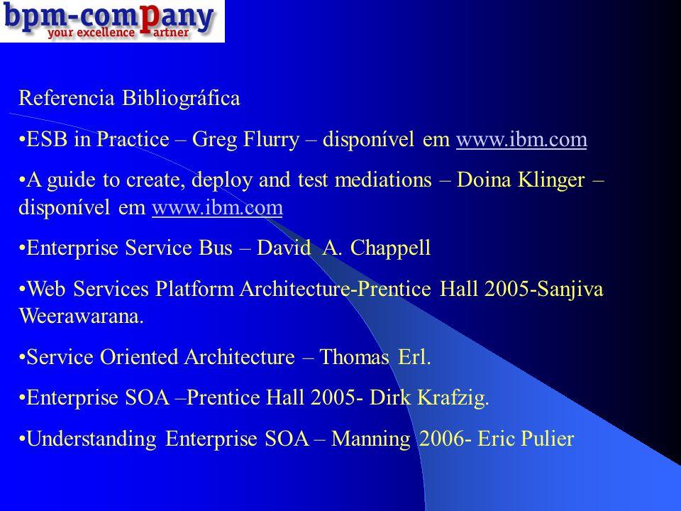 Referencia Bibliográfica ESB in Practice – Greg Flurry – disponível em www.ibm.comwww.ibm.com A guide to create, deploy and test mediations – Doina Kl