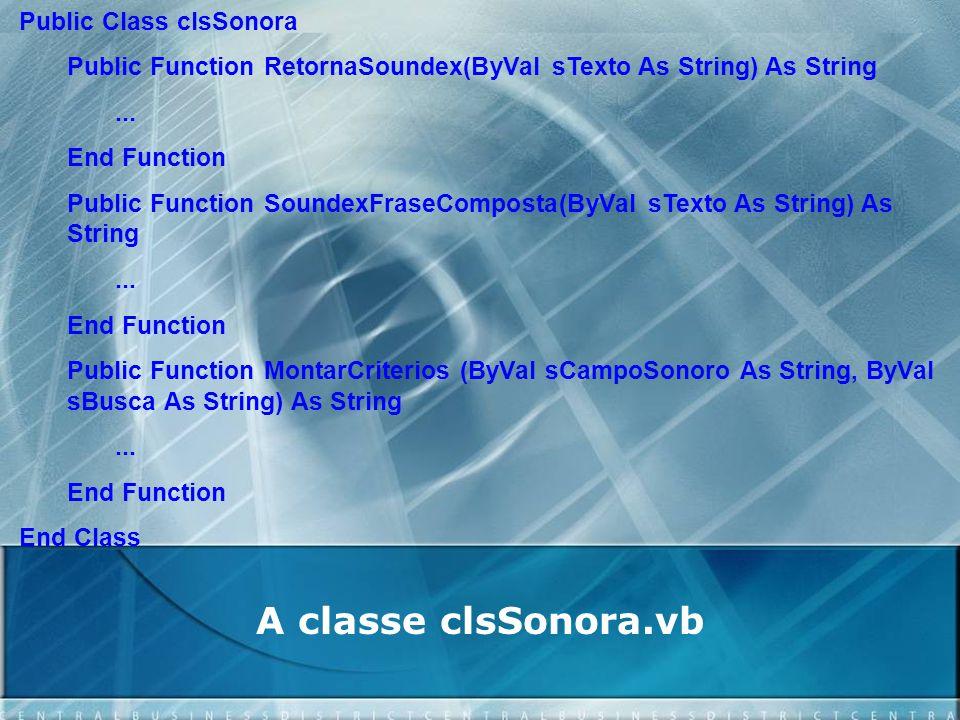 A classe clsSonora.vb Public Class clsSonora Public Function RetornaSoundex(ByVal sTexto As String) As String... End Function Public Function SoundexF