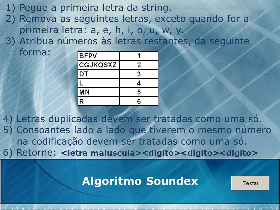 Algoritmo Soundex 1)Pegue a primeira letra da string. 2)Remova as seguintes letras, exceto quando for a primeira letra: a, e, h, i, o, u, w, y. 3)Atri