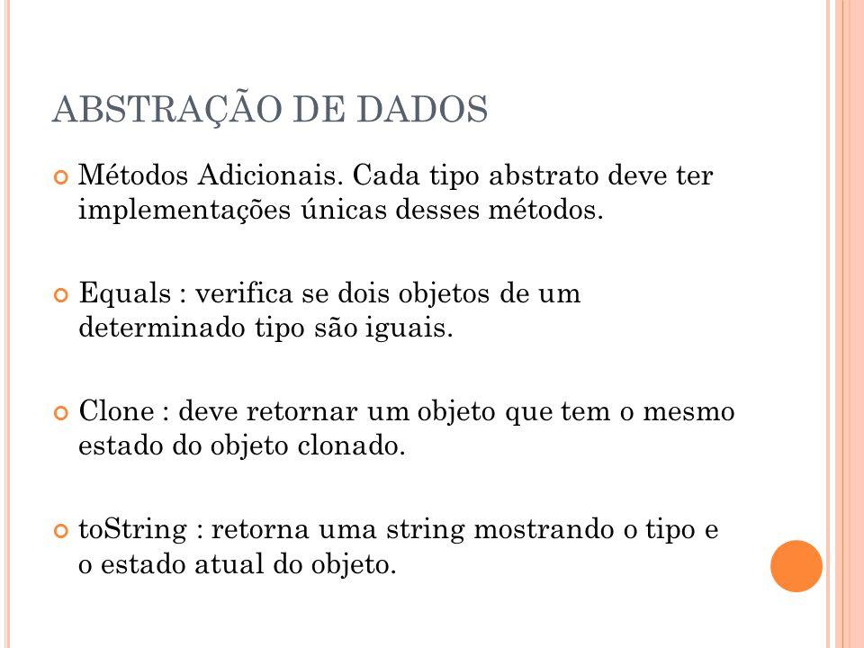 ABSTRAÇÃO DE DADOS Métodos Adicionais.