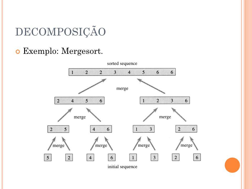DECOMPOSIÇÃO Exemplo: Mergesort.