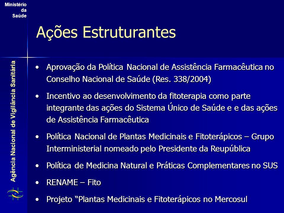 Agência Nacional de Vigilância Sanitária Ministério da Saúde A ç ões Estruturantes Aprovação da Política Nacional de Assistência Farmacêutica no Conse