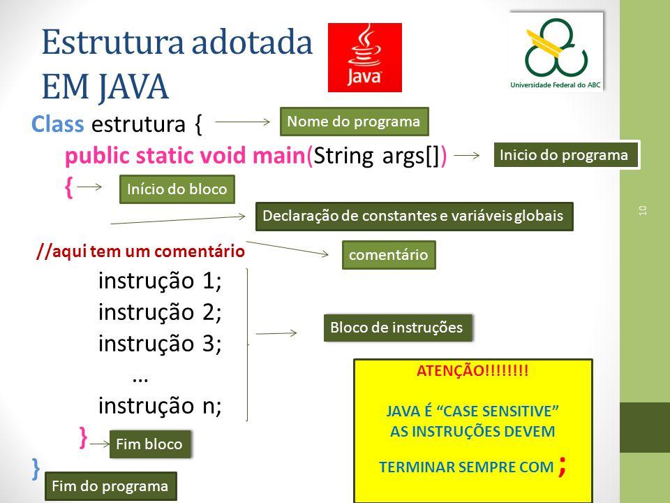 Class estrutura { public static void main(String args[]) { //aqui tem um comentário instrução 1; instrução 2; instrução 3; … instrução n; } 10 Estrutu