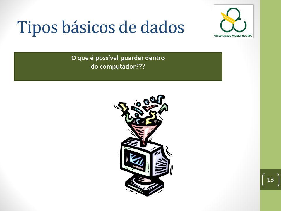 Tipos básicos de dados 13 O que é possível guardar dentro do computador???