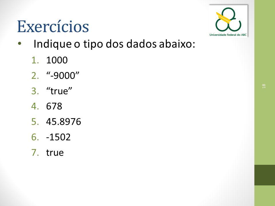 18 Exercícios Indique o tipo dos dados abaixo: 1.1000 2. -9000 3. true 4.678 5.45.8976 6.-1502 7.true