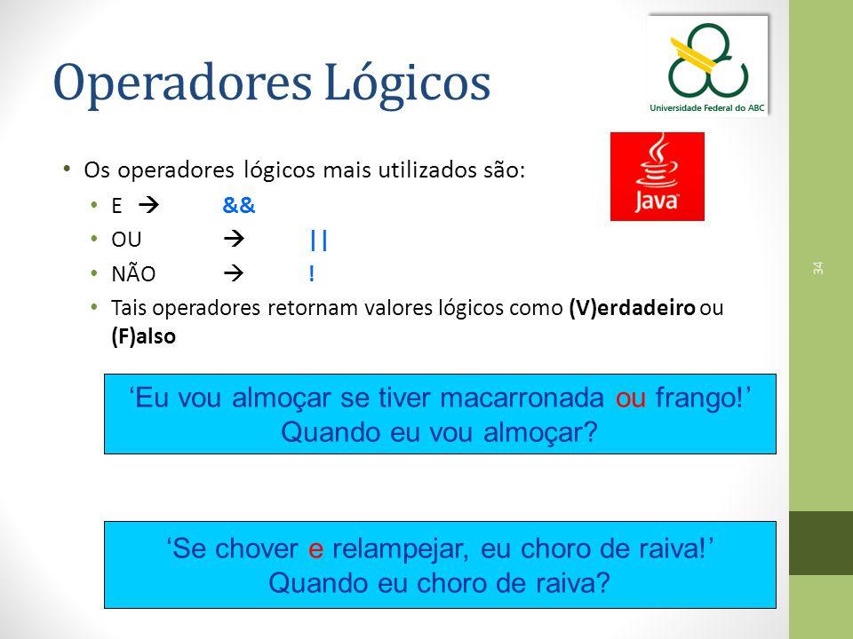 34 Operadores Lógicos Os operadores lógicos mais utilizados são: E  && OU  || NÃO  ! Tais operadores retornam valores lógicos como (V)erdadeiro ou