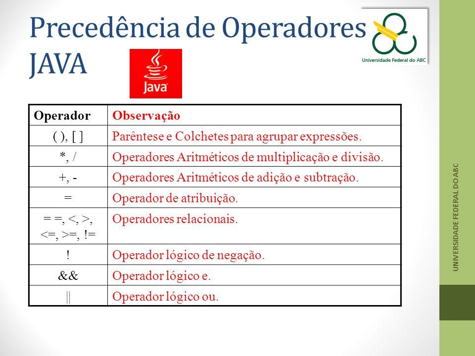 Precedência de Operadores JAVA UNIVERSIDADE FEDERAL DO ABC OperadorObservação ( ), [ ]Parêntese e Colchetes para agrupar expressões. *, /Operadores Ar