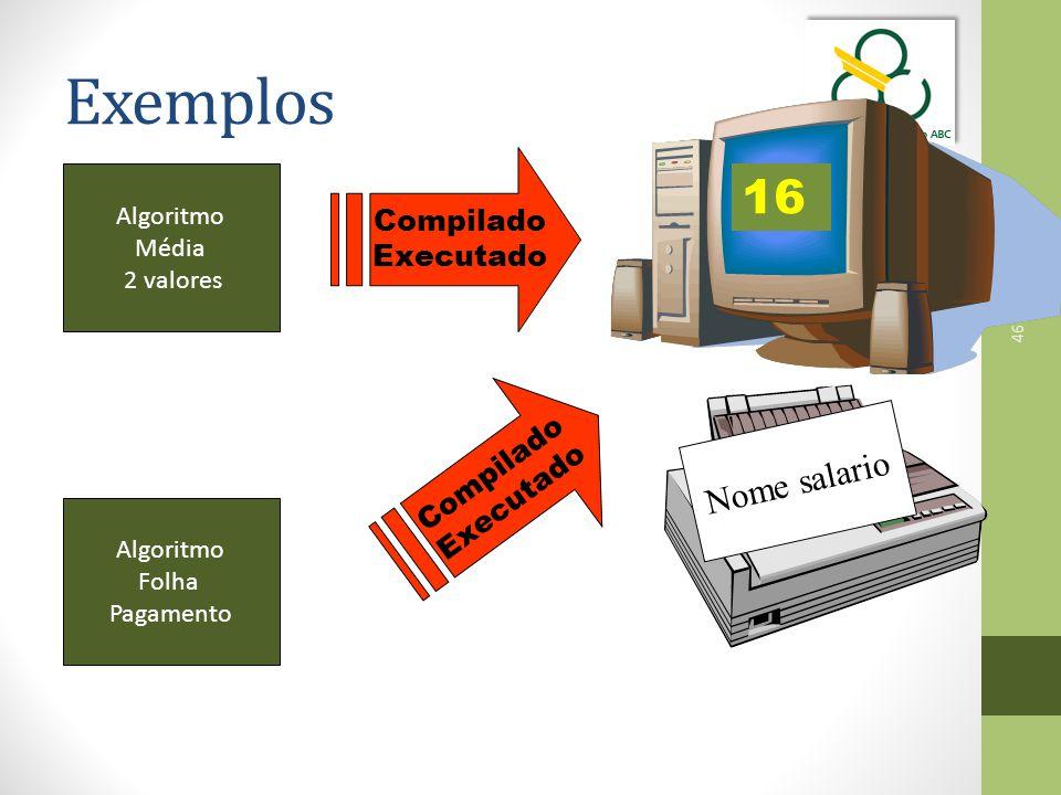 46 Exemplos Compilado Executado 16 Compilado Executado Nome salario Algoritmo Média 2 valores Algoritmo Folha Pagamento