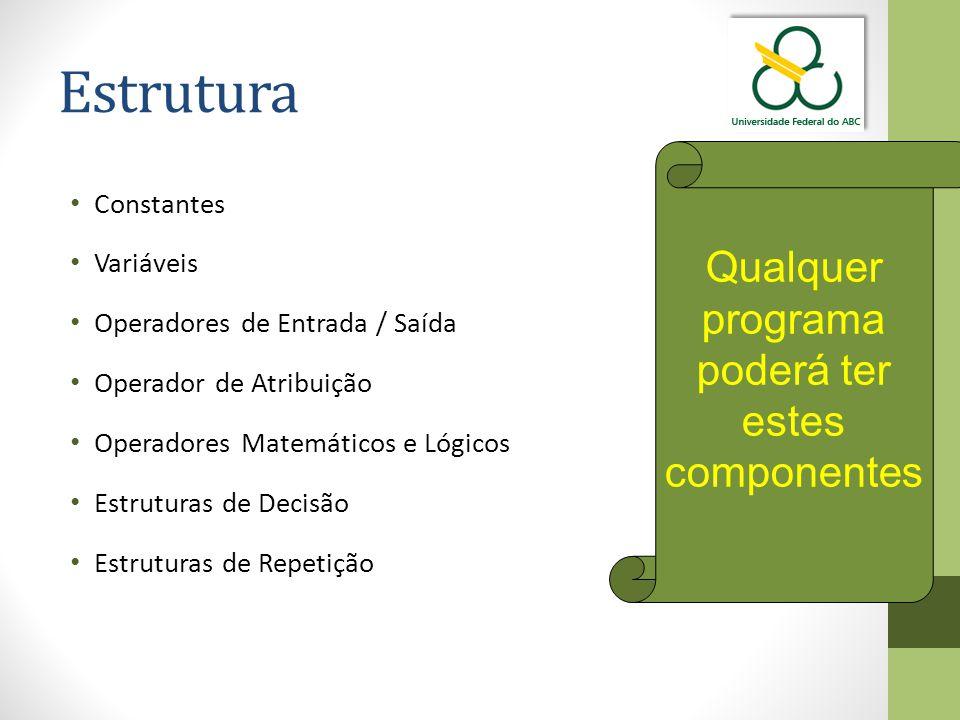 Estrutura Constantes Variáveis Operadores de Entrada / Saída Operador de Atribuição Operadores Matemáticos e Lógicos Estruturas de Decisão Estruturas de Repetição Qualquer programa poderá ter estes componentes
