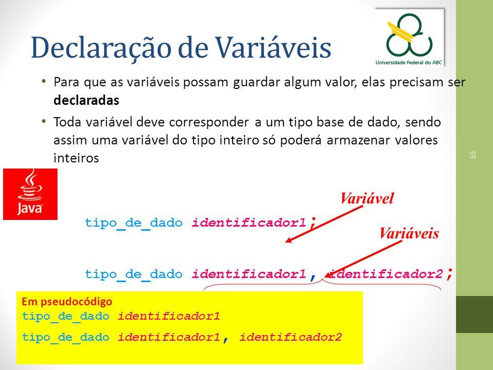 59 Declaração de Variáveis Para que as variáveis possam guardar algum valor, elas precisam ser declaradas Toda variável deve corresponder a um tipo base de dado, sendo assim uma variável do tipo inteiro só poderá armazenar valores inteiros tipo_de_dado identificador1 ; tipo_de_dado identificador1, identificador2 ; Variável Variáveis Em pseudocódigo tipo_de_dado identificador1 tipo_de_dado identificador1, identificador2