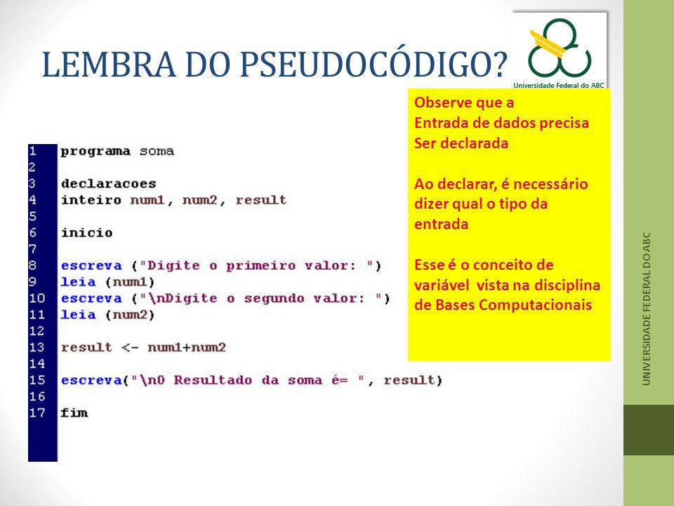 LEMBRA DO PSEUDOCÓDIGO.