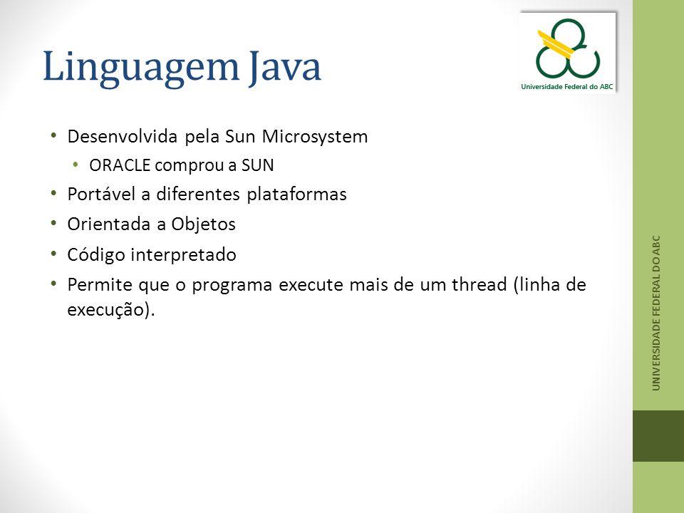 Linguagem Java Desenvolvida pela Sun Microsystem ORACLE comprou a SUN Portável a diferentes plataformas Orientada a Objetos Código interpretado Permite que o programa execute mais de um thread (linha de execução).