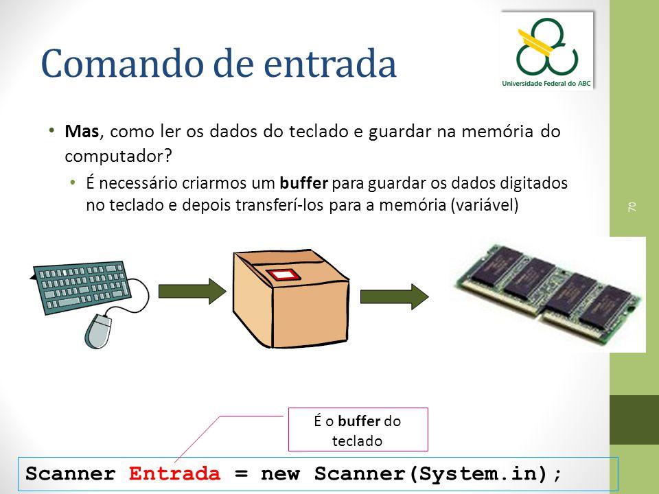 70 Comando de entrada Mas, como ler os dados do teclado e guardar na memória do computador.