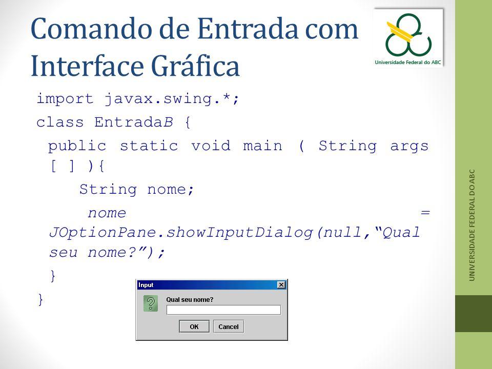 Comando de Entrada com Interface Gráfica import javax.swing.*; class EntradaB { public static void main ( String args [ ] ){ String nome; nome = JOptionPane.showInputDialog(null, Qual seu nome? ); } UNIVERSIDADE FEDERAL DO ABC