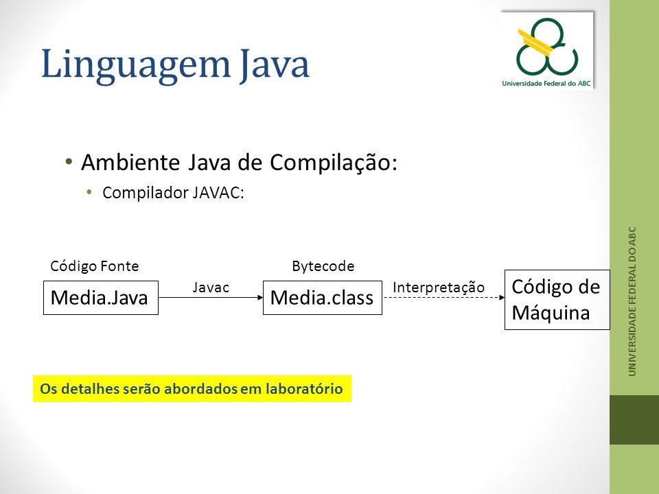 Linguagem Java UNIVERSIDADE FEDERAL DO ABC Ambiente Java de Compilação: Compilador JAVAC: Media.JavaMedia.class Código de Máquina Código FonteBytecode