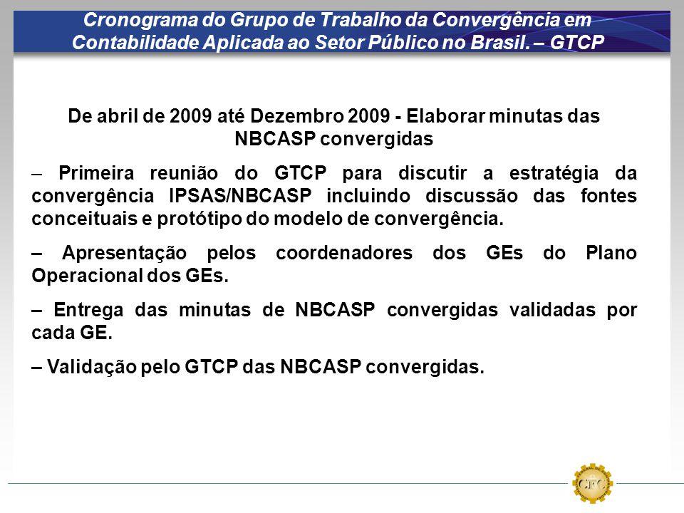 Cronograma do Grupo de Trabalho da Convergência em Contabilidade Aplicada ao Setor Público no Brasil. – GTCP De abril de 2009 até Dezembro 2009 - Elab