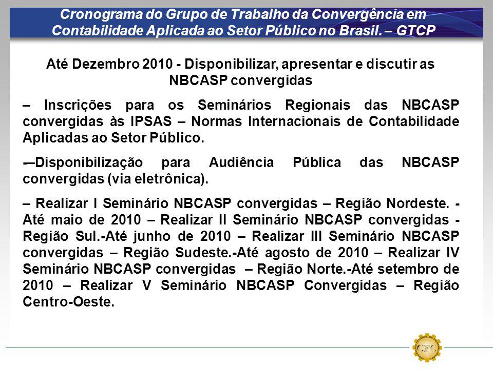 Cronograma do Grupo de Trabalho da Convergência em Contabilidade Aplicada ao Setor Público no Brasil. – GTCP Até Dezembro 2010 - Disponibilizar, apres