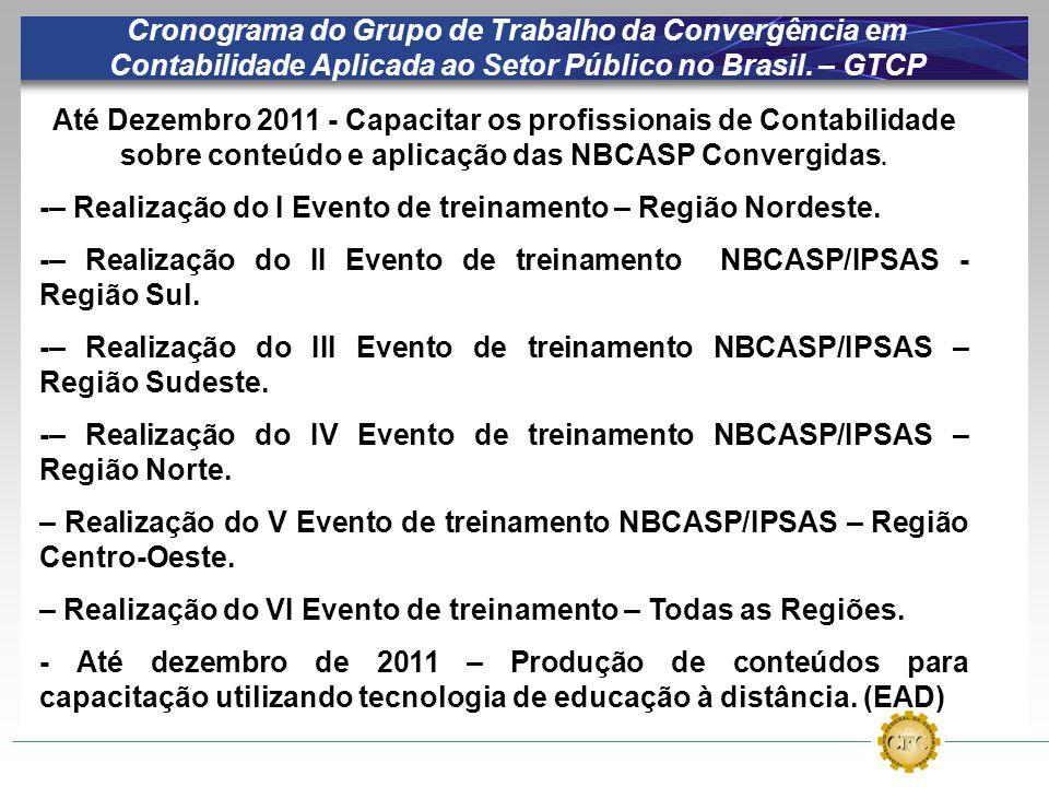 Cronograma do Grupo de Trabalho da Convergência em Contabilidade Aplicada ao Setor Público no Brasil. – GTCP Até Dezembro 2011 - Capacitar os profissi